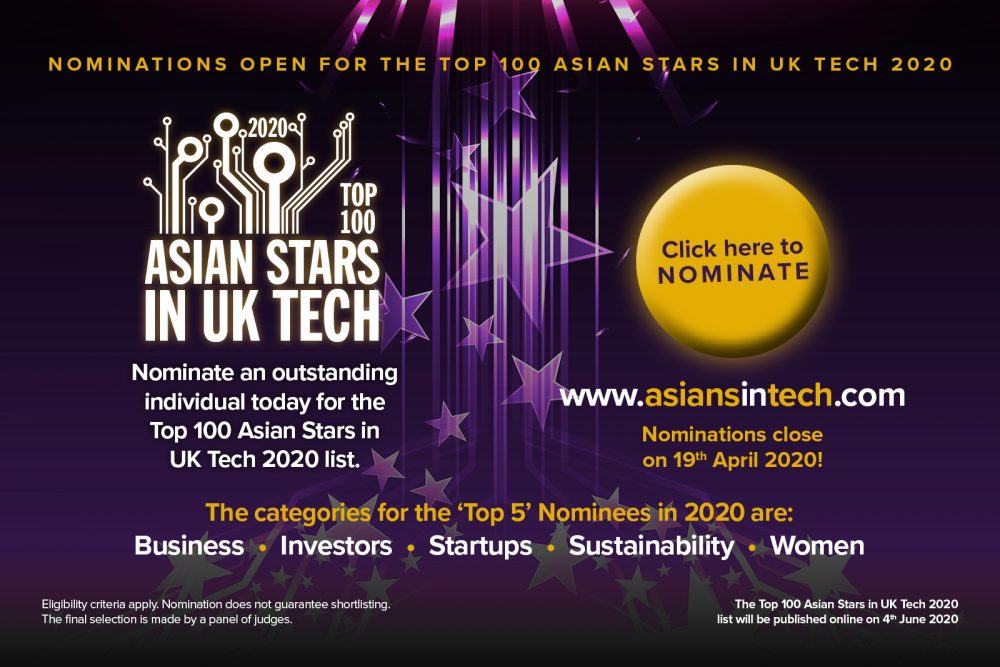 Nominations open for the Top 100 Asian Stars in UK Tech 2020 - Banner