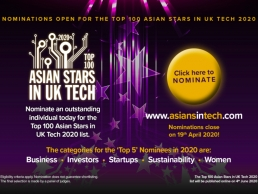 Nominations open for the Top 100 Asian Stars in UK Tech 2020