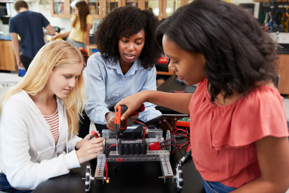 female students studing STEM