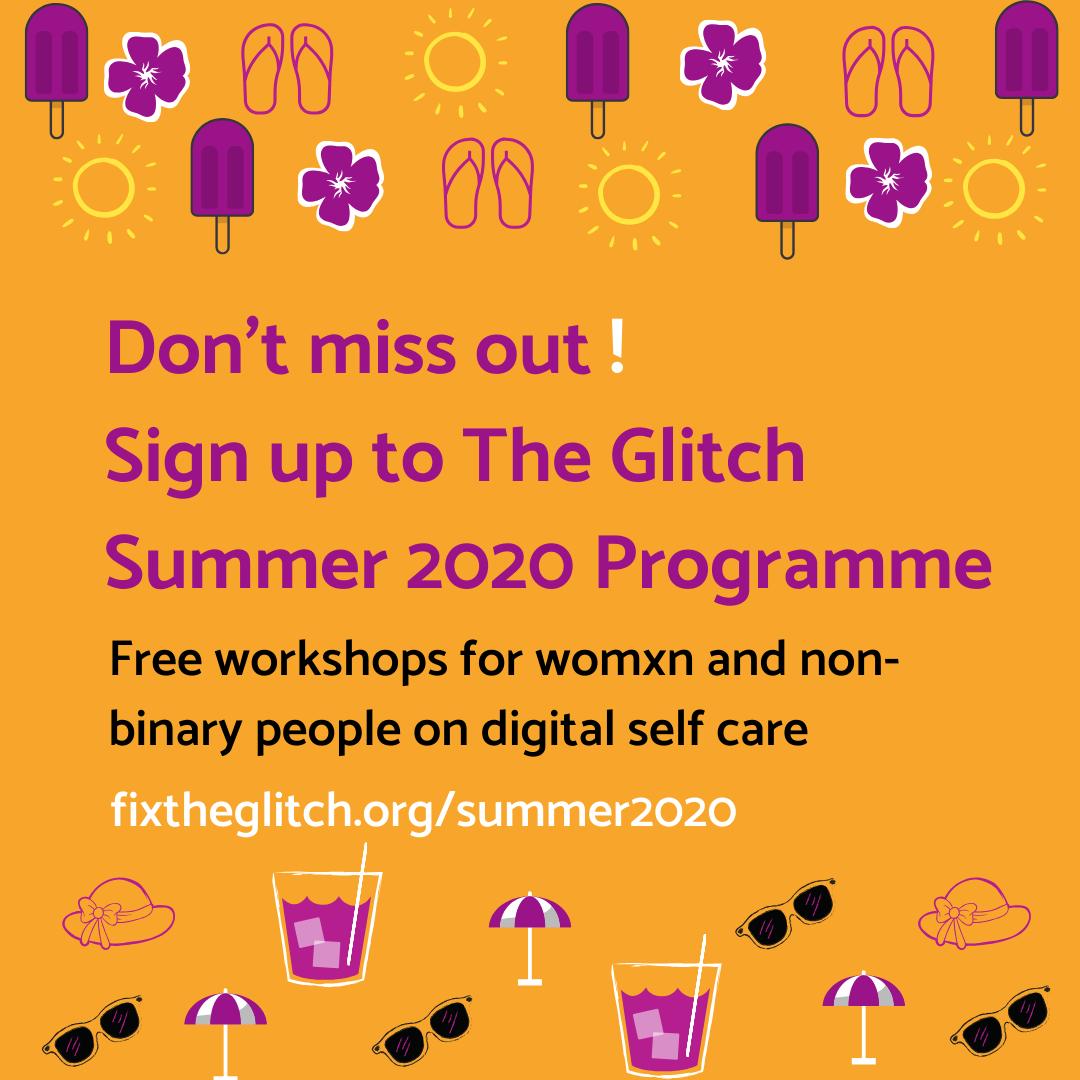 Glitch Summer 2020 Programme Graphic