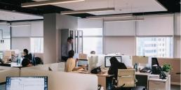 open plan office, people working an office