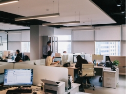 open plan office, people working an office