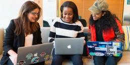 three women in tech working on laptops, gender diversity