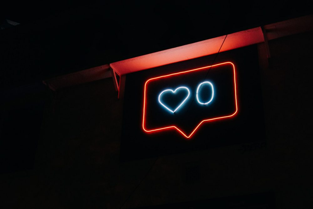 social media, likes, neon sign, brand authenticity