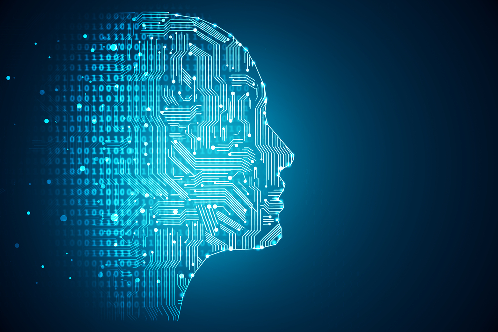 Artificial intelligence. Human head outline with circuit board inside, AI