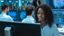 Black woman working on computer, engineering