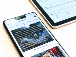A Google pixel 3XL showing Covid-19 information from the Google News app
