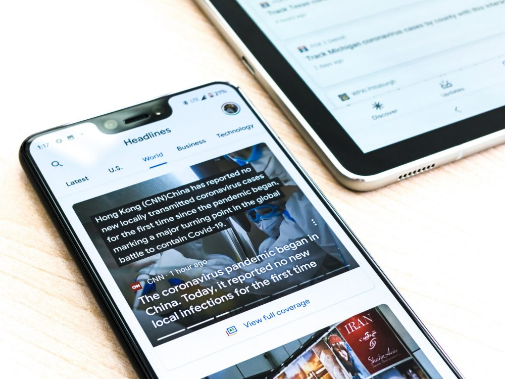 A Google pixel 3XL showing Covid-19 information from the Google News app, tech news