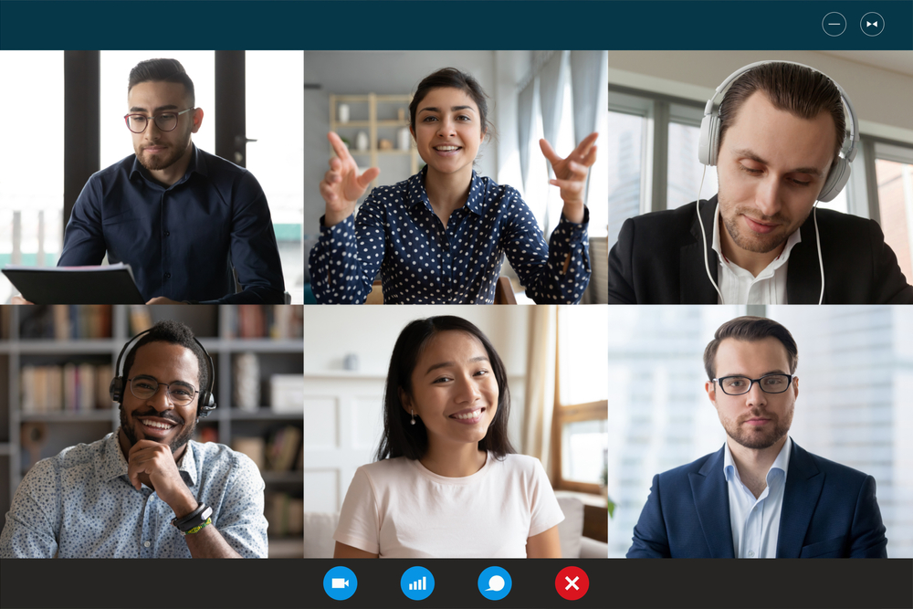 Team working by group video call share ideas, global teams, virtual workplace