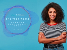 One Tech World conference - Adorable confident happy young African American woman with playful look has afro hairstyle laughing smiling against blue wall standing with arms crossed