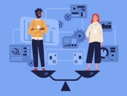 Smiling man and woman standing on weighing dishes of balance scale. Concept of gender equality at work or in business, equal rights for both sexes. Colorful vector illustration in flat cartoon style.
