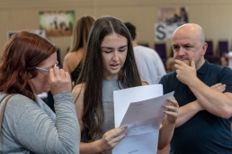 Students receive GCSE results at Becket Keys Church of England School, results day, exam results