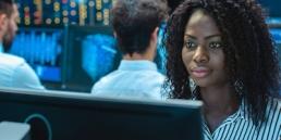 Black woman working on computer, engineering, CodeGen Developer Challenge